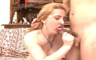 older golden-haired eats his cock and then
