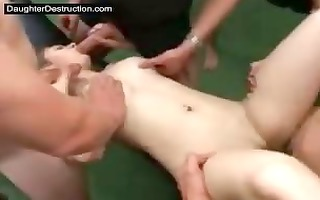 daughter throat and pussy screwed hard