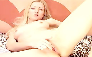 cute blond plays with bawdy cleft