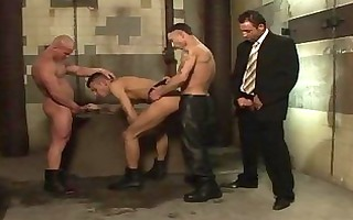 its extremely dirty foursome fucking in a latrine