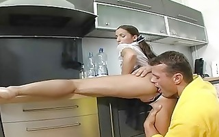 brunette hair sweetheart with pigtailes receives